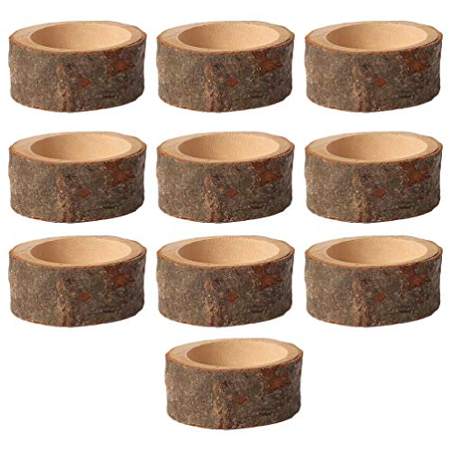 PRETYZOOM 10 Stück Holz Kerzenhalter Dekorativer Teelichthalter Baumstumpf Kerzenständer Vintage Serviettenringe Rustikale Tischdeko Sukkulenten Blumentopf für Hochzeit Landhaus Ornament