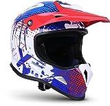 "SOXON® SKC-33 ""Fusion White Blue"" · Kinder Cross-Helm · Motorrad-Helm MX Cross-Helm MTB BMX Cross-Bike Downhill Off-Road Moto-Cross · ECE 22.05 Schnellverschluss SlimShell Tasche S (53-54cm)"