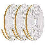 YOTINO Bande de Joint en Mousse Adhésive 6x3mm, Bande de Joint d'Etanchéité Autocollante pour Portes et Fenêtre (Blanc, 3 rouleaux)