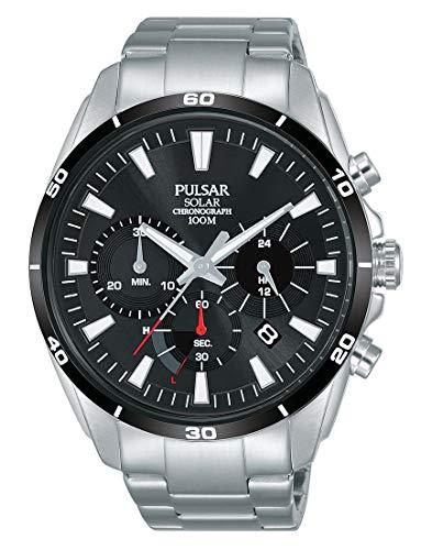 Pulsar Solar Herren-Uhr Chronograph Edelstahl mit Metallband PZ5059X1