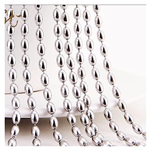 YANGY Collar de Cadena de Cuentas de arroz de Acero Inoxidable de Color Plateado, Collares de Hip Hop Punk Personalizados para Mujeres/Hombres, Regalo de Fiesta, joyería (Color : 28inch or71cm)