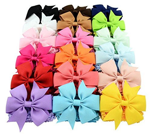 Baby Girls Grosgrain Ribbon Hair Bows Clips Fashion Hair Band Headbands For Teens Women Girls Kids Pack Of 18(Colorful)