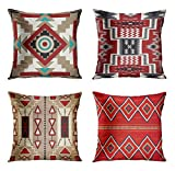 ArtSocket Set of 4 Throw Pillow Covers Southwest Southwestern Inspired Earth Tones Native Earthtones Tribal Navajo Decorative Pillow Cases Home Decor Square 18x18 Inches Pillowcases