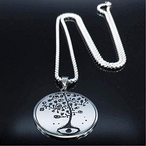 Mxdztu Co.,ltd Collar de Cadena de Acero Inoxidable esmaltado con Vida de árbol, Collares para Hombres, Collar de Color Plateado Ying Yang, Collar con Colgante de joyería para Mujeres y Hombres