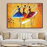 KWzEQ Mujer Africana Bailarina niña Vintage Floral Pintura al óleo sobre Lienzo póster,Pintura sin Marco,60x90cm