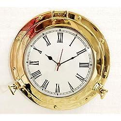 12 Antique Marine Brass Ship Porthole Analog Clock Nautical Wall Clock Home Decor