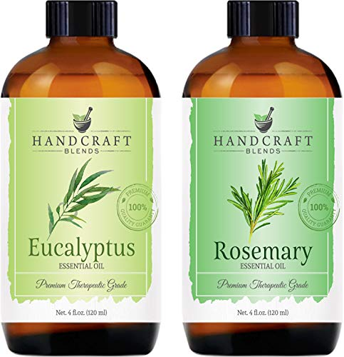 Handcraft Eucalyptus Essential Oil and Rosemary Essential Oil Set – Huge 4 Fl. Oz – 100% Pure and Natural Essential Oils – Premium Therapeutic Grade with Premium Glass Dropper
