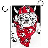 Bandera del jardín,decoración al aire libre de la granja de la bandera de la yarda Perro usando la bufanda de cráneo del casco vikingo Vertical 28x40 pulgadas
