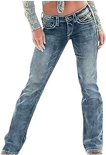 Remanlly Women Mid Waisted Skinny Denim Jeans Pocket Stretch Slim Button Pants Jeans