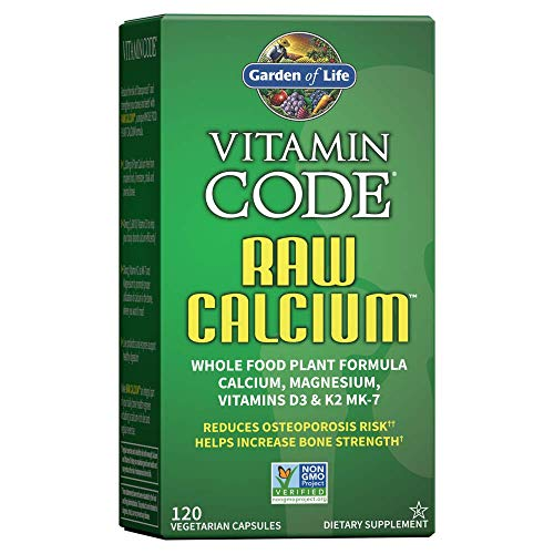 Garden of Life Vitamin Code Raw Calcium with Vitamin D3, C, K2 MK-7, Magnesium, 756 mg Plant Calcium Supplement for Bone Strength with Fruit and Veggie Blend Plus Probiotics and Enzymes, 120 Capsules