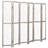 Tidyard Biombo de 6 Paneles de Madera Maciza Biombo Separador Decoración,Separador de Ambientes Plegable, Divisor de Habitaciones,Blanco 210x165 cm