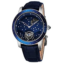 Polished 18k white gold case (46 mm in diameter, 17 mm thick), Domed and metal coated milky way blue sapphire bezel, See-through sapphire crystal case-back with hand-engraved serial number Blue dial, 18k white gold skeleton hands, Constellation of 48...