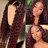 Imeya Human Hair Burgundy Lace Front Wigs For Black Women Deep Wave Wig 13x6 HD Transparent Swiss Lace Wig Pre Plucked Natural Hairline Unprocessed Brazilian Virgin Hair Wig 150 Density, 24 Inches