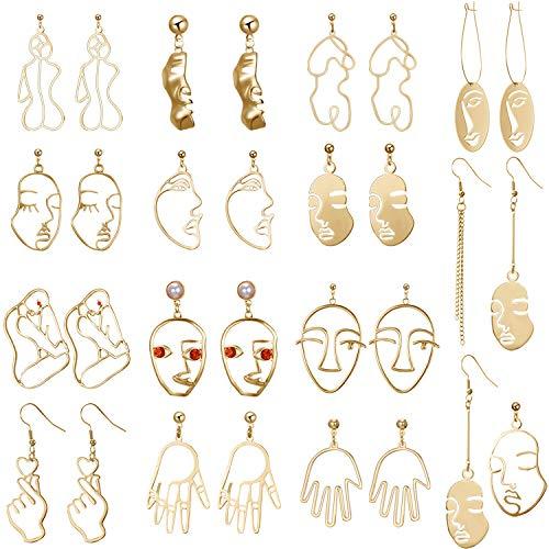15 Pairs Face Abstract Art Earrings Wire Face Earrings Hollow Hand Geometric Earrings Gold Dangle Earrings