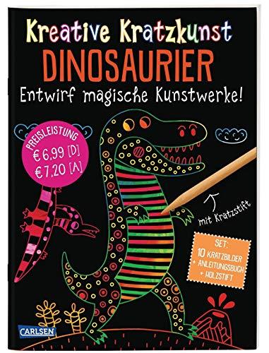 Kreative Kratzkunst: Dinosaurier: Set mit 10 Kratzbildern, Anleitungsbuch und Holzstift