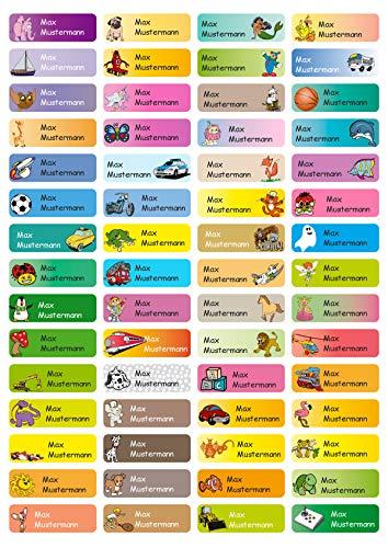 Sunnywall® Namensaufkleber Namen Sticker Aufkleber Sticker 4,8x1,6cm | 60 Stück für Kinder Schule und Kindergarten 38 Hintergründe zur Auswahl (Mixbogen)