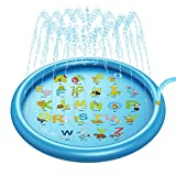 lossomly Alfombrilla para salpicaduras, 170 cm, para jugar con agua, para exteriores, para el verano, para niños, color azul