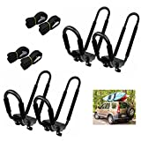 vnice 2 Pairs Heavy Duty Kayak Roof Rack Loader J-Bar Universal Car Top Carrier Mount for Canoe, SUP and Kayaks on SUV Car Truck Two with Four Straps for Easy Travel and Surfboards