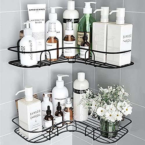 Huryfox 2er-Pack Ecke Dusch Regal für das Badezimmer - Regal, rostfreies Badewannen-Zubehör / Organizer, Selbstklebender Korb zur Lagerung von Shampoo / Wand Halter zur Organisation (schwarz)