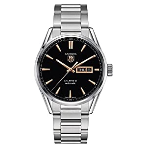 Tag Heuer Carrera Calibre 5 Black Dial Stainless Steel Mens Watch WAR201CBA0723 image