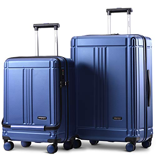 Merax Laptop Luggage Lightweight Hard Shell 4 Wheels Suitcases with TSA Lock Luggage Set (20/24/SET of 2) (Set of 2, Blue)