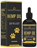 Golden Oil Extrakte für Hunde und Katzen 12000mg 60ml Natürliche hohe Festigkeit 60% Hanföl Tropfen mit flüssigem Omega 3,6 & 9 Fischöl infundiert für Ergänzung und Hilfe und Linderung für Tiere