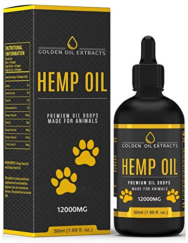 Golden Oil Extracts for Dogs and Cats 12000mg 50ml Natural Hemp Seed Oil Drops with Liquid Omega 3,6 & 9 Fish Oil Infused Supplement