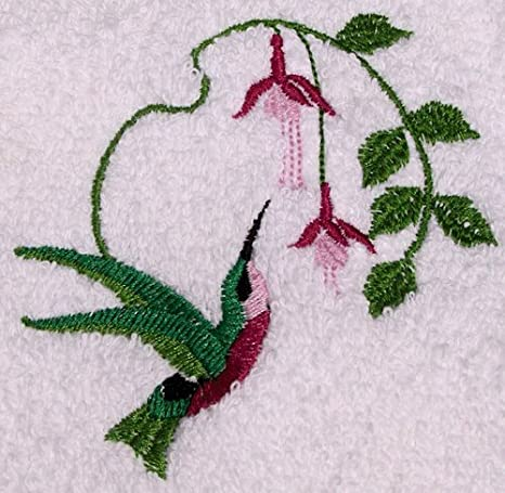 Embroidered Velour Hand Towel Humming Bird