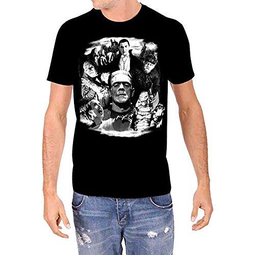Universal Monsters Collage Frankenstein Karloff Lugosi Men's Glow in The Dark T-Shirt (2XL) Black