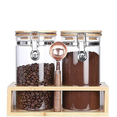 KKC Kaffeedosen Glas Luftdicht - Kaffeebehälter Glas - Kaffeebohnen Behälter- Vorratsdosen Kaffee - Glasbehälter mit Löffel für Kaffeebohnen,Gemahlenen Kaffee-Glasdosen mit Löffel -1,2 L