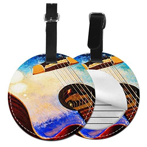 Etiquetas para Equipaje Bolso ID Tag Viaje Bolso De La Maleta Identifier Las Etiquetas Maletas Viaje Luggage ID Tag para Maletas Equipaje Cubierta Artística de Guitarra de Agua