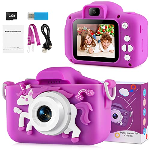Kids Camera for Girls, Upgrade Digital Selfie Camera Toys HD 1080P Mini 20MP Video Camcorder Portable Christmas Birthday for 3 4 5 6 7 8 9 10 Year Old Toddlers Children with 32GB TF Card