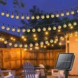 Litogo Guirnaldas Luces Exterior Solar, [8M 80 LED] Cadena de Bola Cristal Luz, IP65 Impermeable 8 Modos Luces LED Exterior Solar Decoracion para Terraza, Hogar, Jardín, Arboles, Patio, Bodas, Fiesta