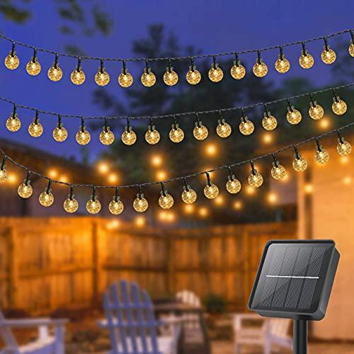 Catena Luminosa Esterno Solare , Litogo 26.25ft 80LED Luce Stringa 8 Modalità Luci Solari Giardino di Crystal Globe Impermeabile IP65 ,Lucine da Esterne per Natale Matrimonio, Festa (Bianco caldo)