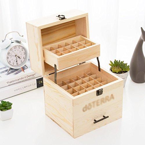 Boîte de stockage d'huile de bois solide trois boîte d'huile essentielle 59 boîte de classement de boîte d'affichage de cosmétiques stockage, pin (Size : 22.9*19*24.3cm)