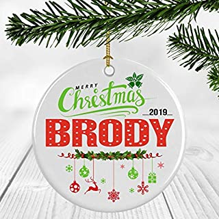 Suopinging Ceramic Christmas Tree Ornaments - Babys First Christmas Ornament 2019 with Name Brody - Ceramic Ornament 3 inches White