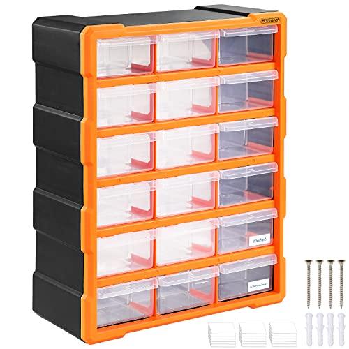Monzana Porta minuterie 18 Cassetti Fino a 36 Scomparti 16x38x47,5cm Organizer Officina Minuteria