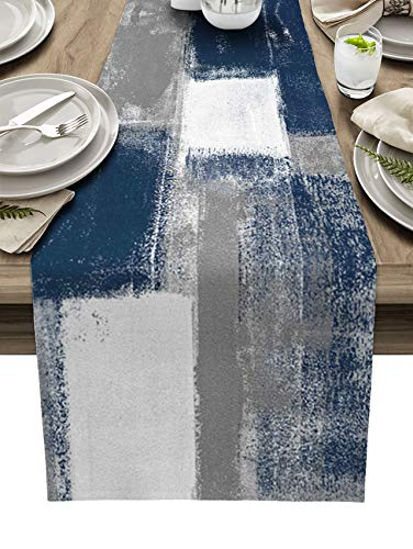 BINGIGO Blue Dining Table Runner 70 inches Long Abstract Navy Blue and Gray Coffee Table Runners for Wedding Birthday Party Thanksgiving Holiday Dinner 13x70inch