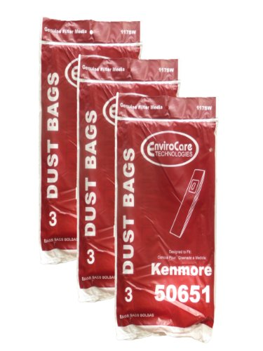 EnviroCare Replacement Vacuum Bags Designed to Fit Kenmore Type L 50651 Uprights 9 Pack