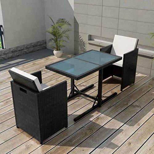 Tidyard 7-TLG. Garten-Essgruppe Poly Rattan Gartengruppe Gartenm?Bel Gartengarnitur Schwarz Terrasse Sitzgruppe 1 Tisch mit Glasplatte, 2 Stühle und 4 Sitzpolster