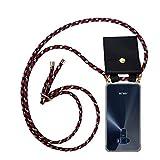 Cadorabo Handy Kette für Asus ZenFone 3 (5,2' Zoll) in ROT BLAU GELB - Silikon Necklace Umhänge Hülle mit Gold Ringen, Kordel Band Schnur und abnehmbarem Etui – Schutzhülle