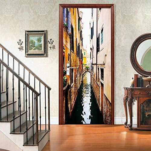 Reflexión Etiqueta engomada de la puerta 3D, calcomanías murales de PVC para la decoración del hogar del arte 30.3x78.7 (77x200cm)