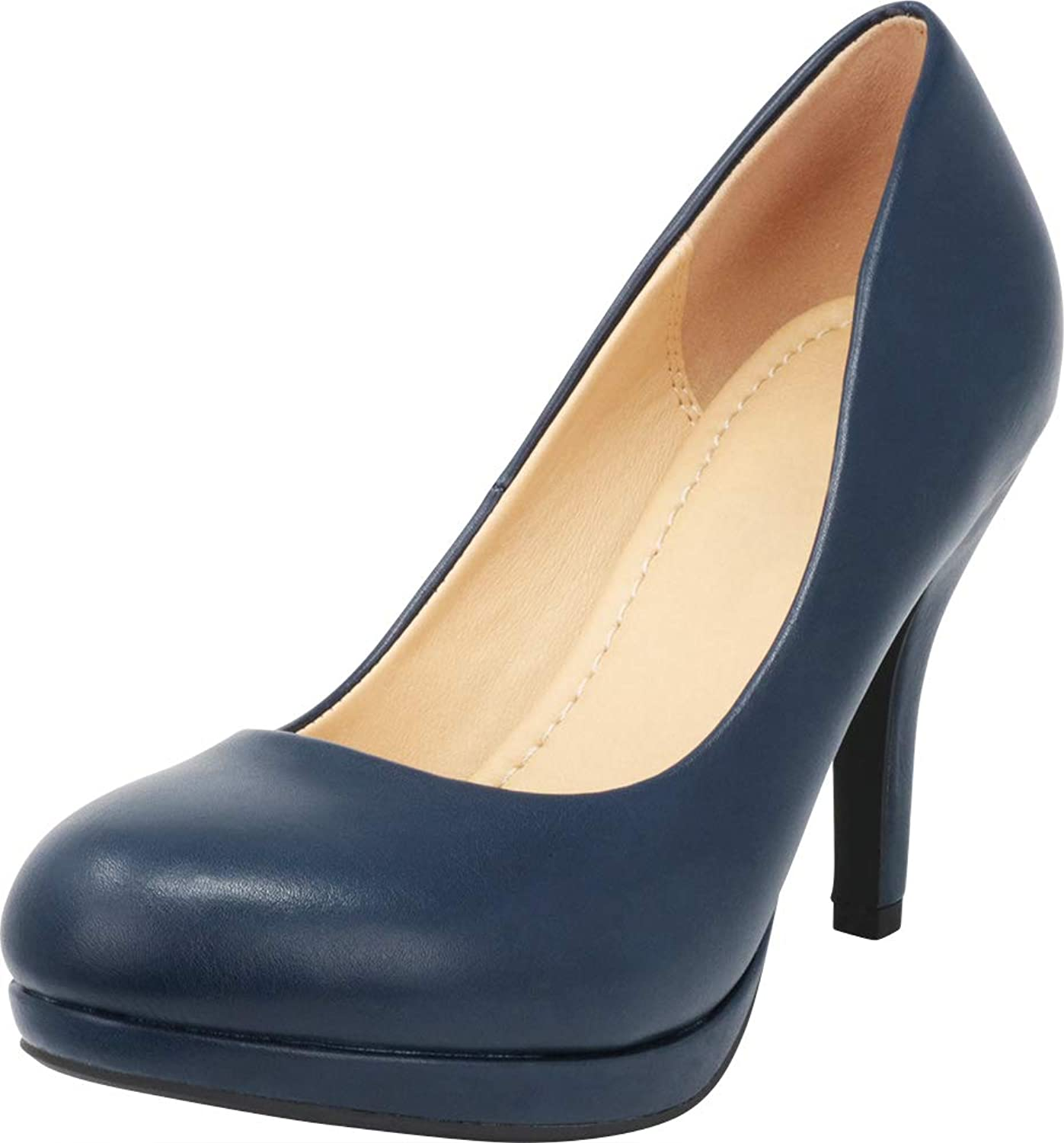 Cambridge Select Women's Closed Round Toe Padded Comfort Slip-On Platform Stiletto High Heel Pump