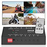 4-Channel Car Video Splitter Controller - Digital Picture Video Signal Switcher with Quad Selectable for Backup Camera Video Monitor Systems CCTV Camera, PAL/NTSC Auto Adapting - Pyle PLVSPLT41