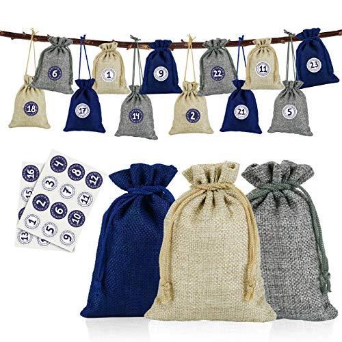 Naler 24 Bolsas de Yute de Lino Sacos de Regalo para Joyas Caramelo Dulces con Pegatinas Números (10x14cm, Natural, Gris, Azul)