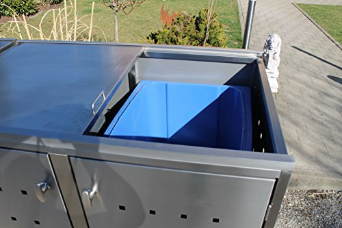 Resorti Mülltonnenbox Basic Edelstahl Kombi 4er 120 / 240 Liter - 4