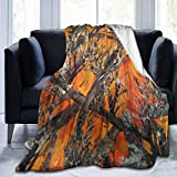 Camo Orange Flannel Fleece Blanket Ultra Soft Cozy Warm Throw Lightweight Blanket - All Season Premium Bed Blanket (60'X50' )