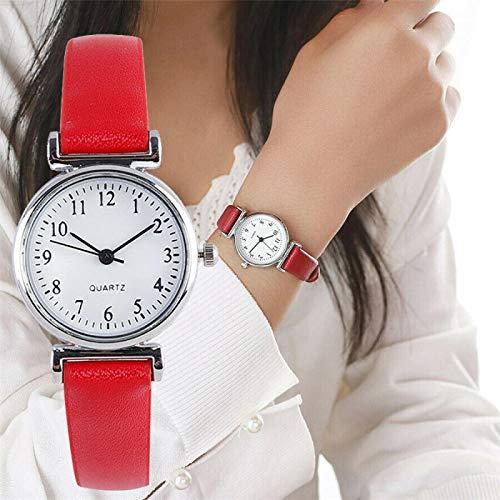 Relojes Relojes Clásicos para Mujer Reloj De Pulsera con Correa De Cuero De Cuarzo Informal Reloj Analógico Redondo Relojes De Pulsera Rojo