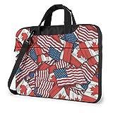 Shockproof Laptop Bag Canada USA Flag Shoulder Messenger Bag Unisex Slim Briefcase for Men Women for Business Office