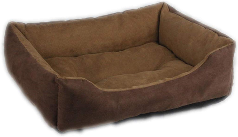Brown Suede Pet Cat Dog Bed Square Bed Pet Supplies Pet Nest (Size   37  29  14cm)